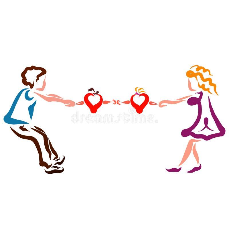 Kvinnan och mannen försöker att dra hjärtor ifrån varandra, grälar och älskar stock illustrationer