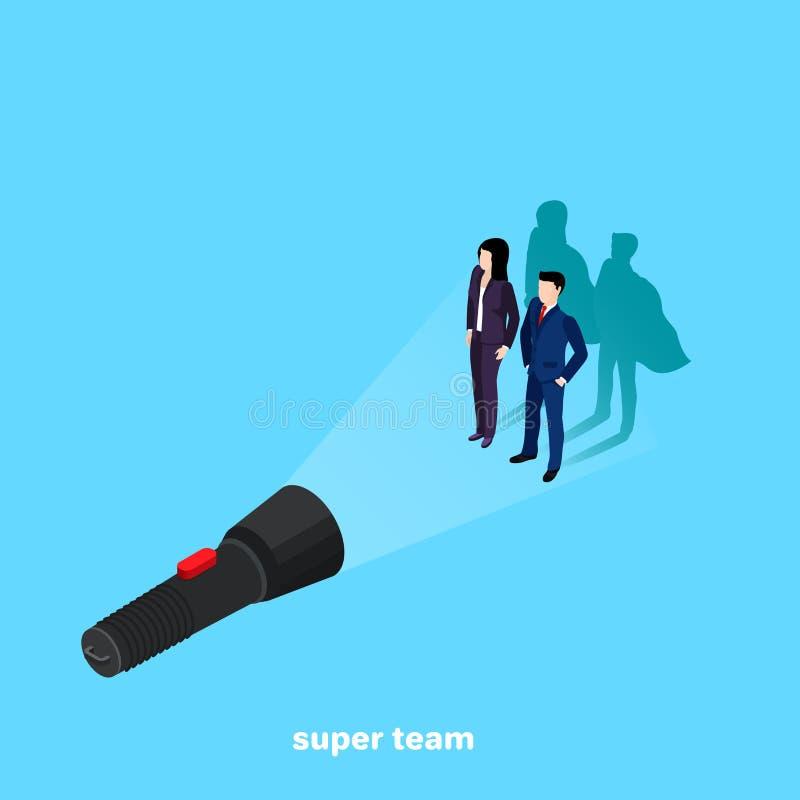 Kvinnan och mannen i en affärsdräkt gjuter skuggan av en superhero i ljuset av en ficklampa royaltyfri illustrationer