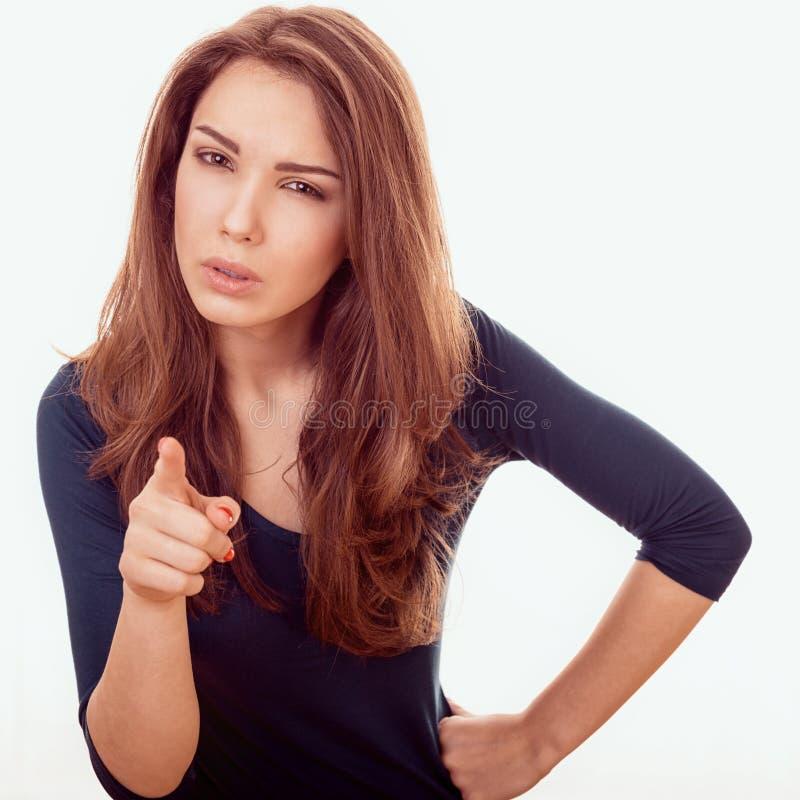 Kvinnan pekar fingrar på dig royaltyfri foto