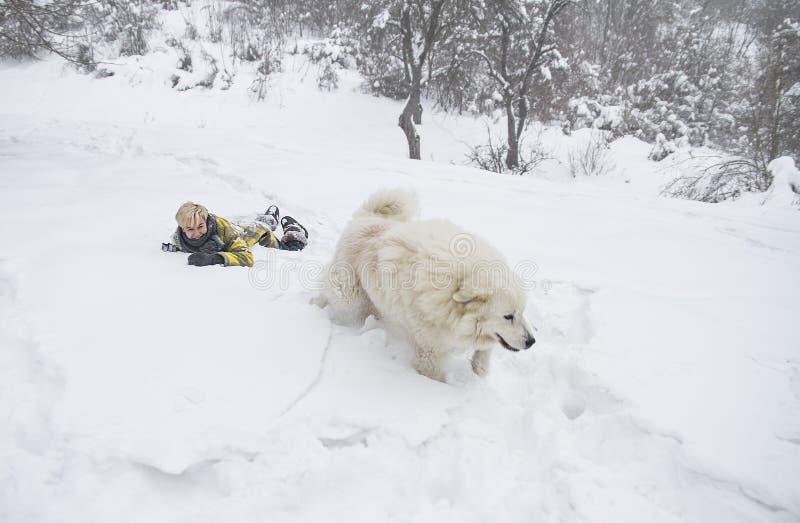 Kvinnan plaskar med en hund i snön arkivfoto