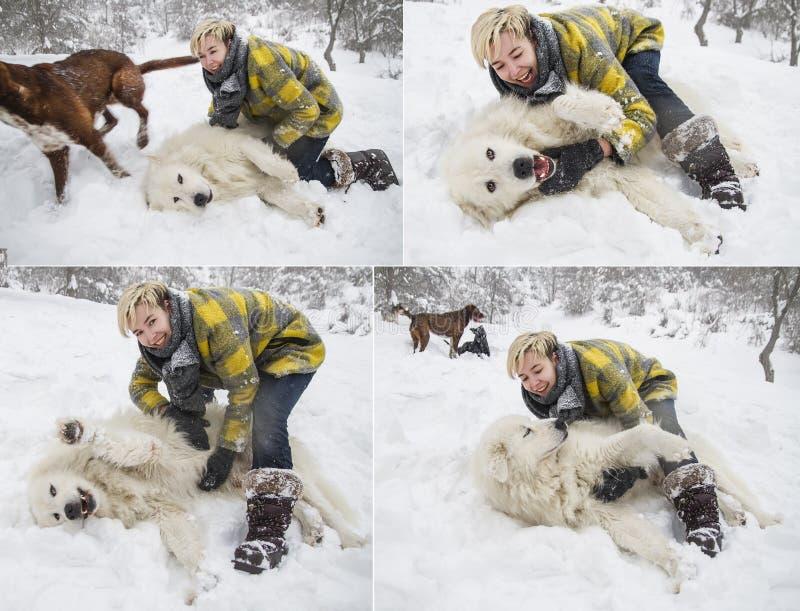 Kvinnan plaskar med en vit hund i snö royaltyfri bild