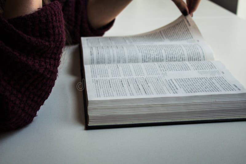 Kvinnan räcker den läs- bibeln royaltyfri foto