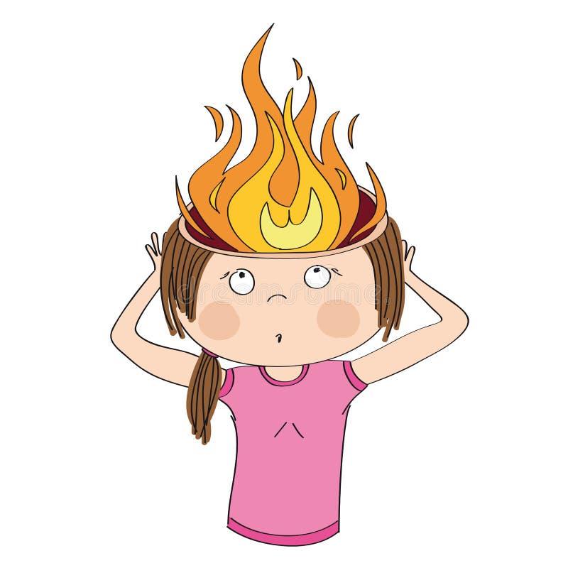 Kvinnan rymmer hennes brinnande huvud Flammor i stället för hjärna Överansträngning- eller huvudvärkbegrepp royaltyfri illustrationer