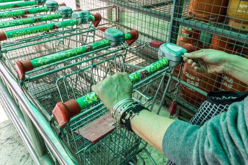 Kvinnan sätter in myntet till supermarketspårvagnen arkivbild
