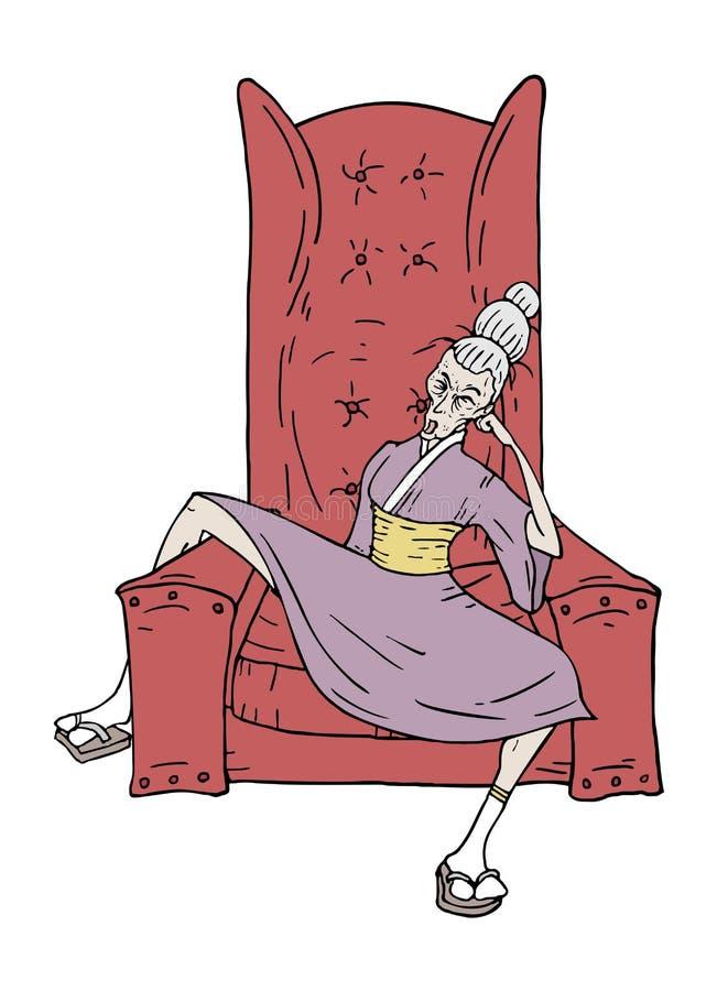 Kvinnan sitter i fåtölj royaltyfri illustrationer
