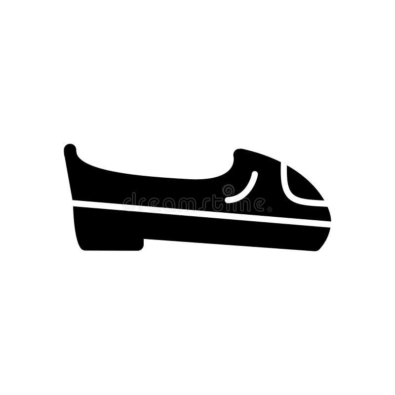 Kvinnan skor vektorsymbolen Svartvit skodonillustration Fast linjär shoppingsymbol vektor illustrationer