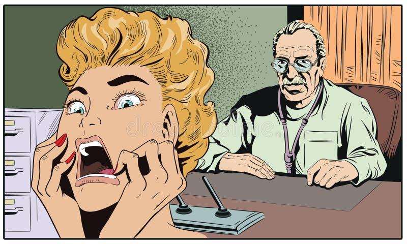 Kvinnan skrämmas av doktor för illustrationorange för bakgrund ljust materiel vektor illustrationer