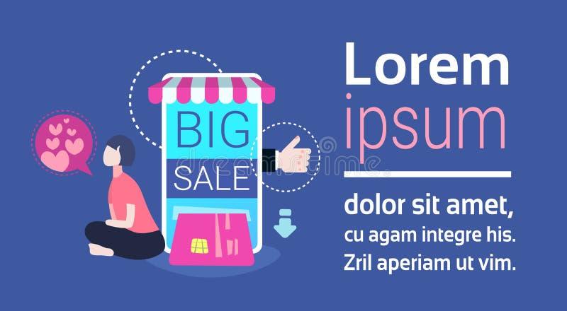 Kvinnan som använder den online-mobila applikationinternet som shoppar den stora skärmen för försäljningsbegreppssmartphonen, sho vektor illustrationer