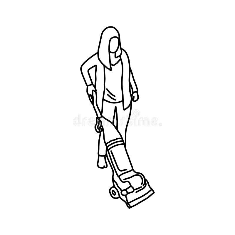 Kvinnan som använder en dammsugarevektorillustration, skissar handen dra vektor illustrationer