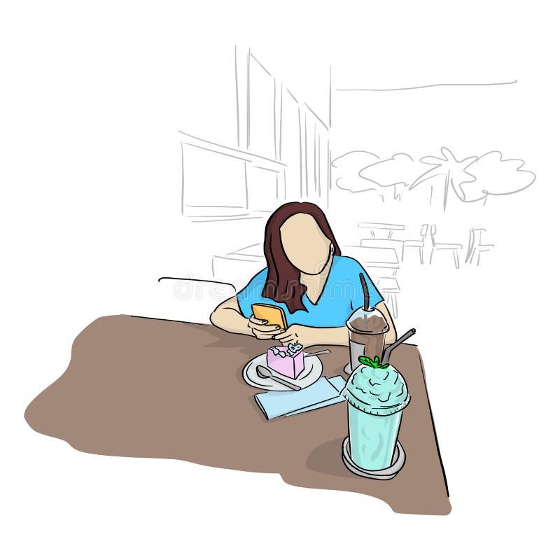 Kvinnan som använder mobiltelefonen med kalla drinkar för kakacand på tabellen i coffee shopvektorillustration, skissar klotte vektor illustrationer