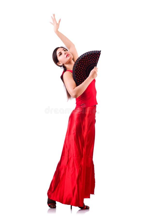 Kvinnan som dansar traditionell spanjor, dansar isolerat på vit arkivfoto