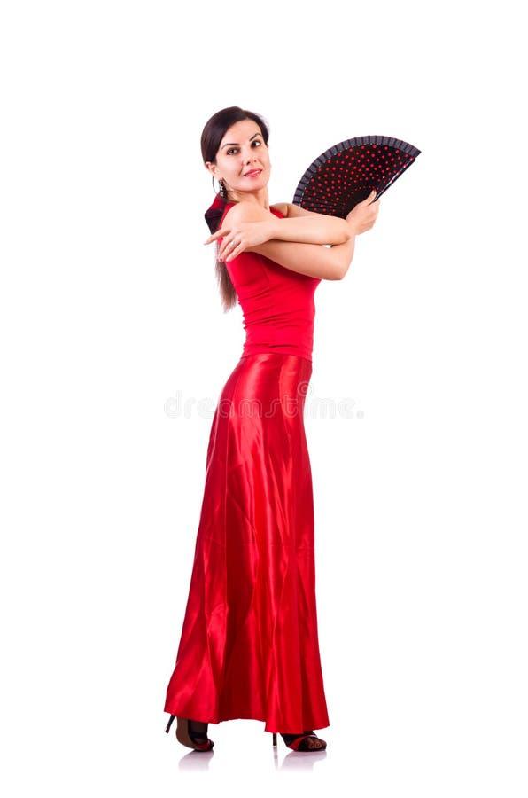 Kvinnan som dansar traditionell spanjor, dansar isolerat på vit royaltyfri bild