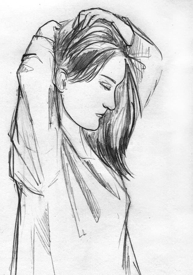 Kvinnan som gör hennes hår, blyertspenna skissar stock illustrationer