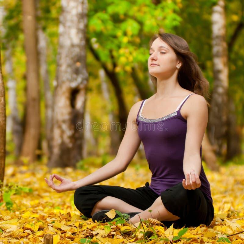 Kvinnan som gör yoga, övar i höstparken royaltyfri fotografi