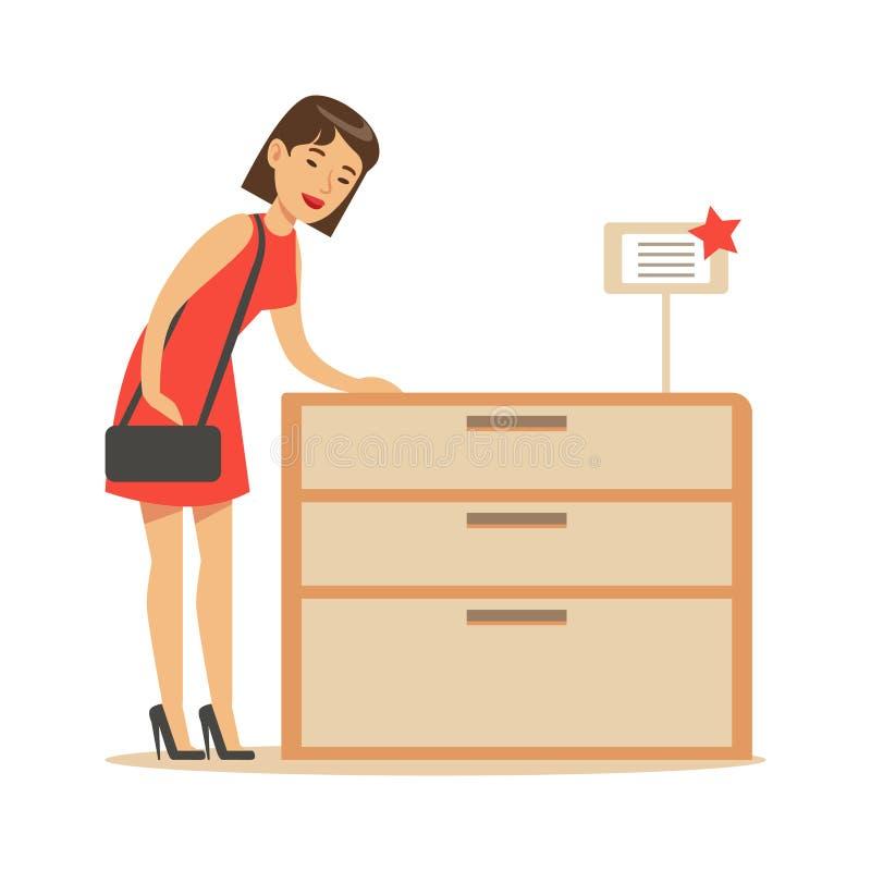 Kvinnan som köper en träskänk som ler shopparen i möblemang, shoppar shopping för husdekorbeståndsdelar royaltyfri illustrationer