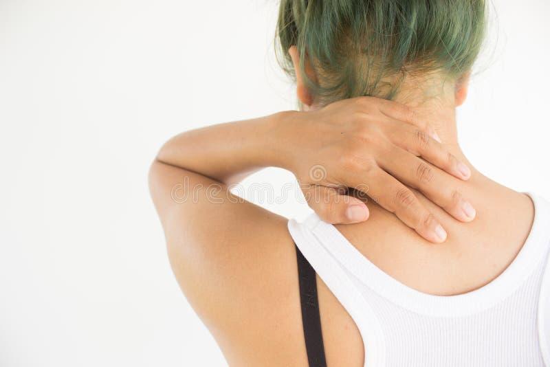 Kvinnan som lider från skulder, smärtar arkivbilder
