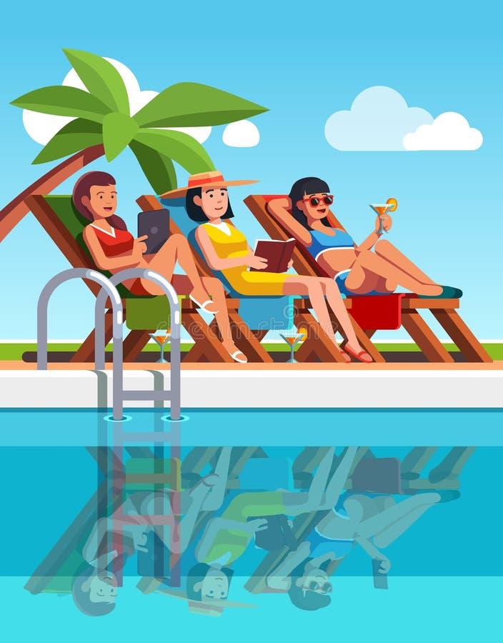 Kvinnan som ligger på dagdrivare, near simbassängen stock illustrationer