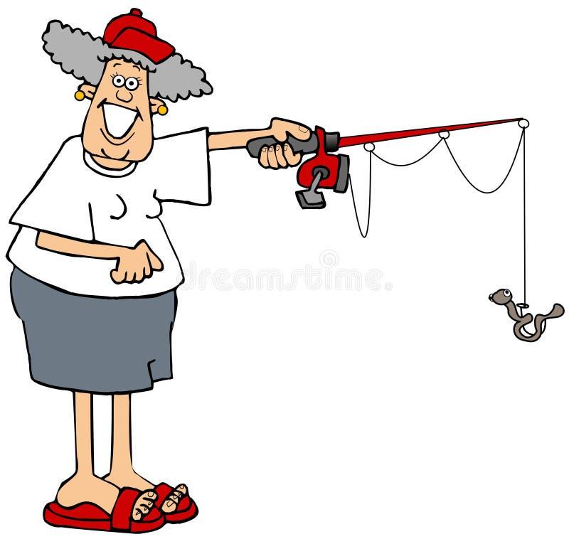 Kvinnan som rymmer en fiska pol med, avmaskar på kroken royaltyfri illustrationer