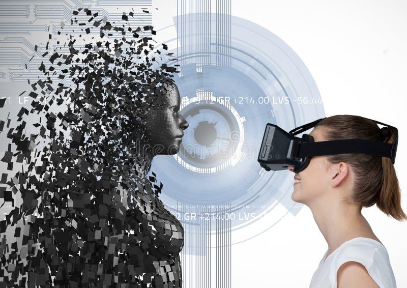 Kvinnan som ser 3d, spridde det kvinnliga diagramet på VR-exponeringsglas arkivfoton