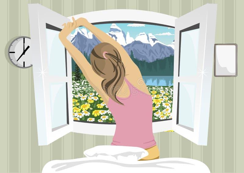 Kvinnan som sträcker i säng efter vak upp, beskådar tillbaka på sommarberglandskap vektor illustrationer