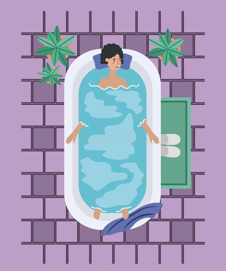 Kvinnan som tar ett bad, badar royaltyfri illustrationer