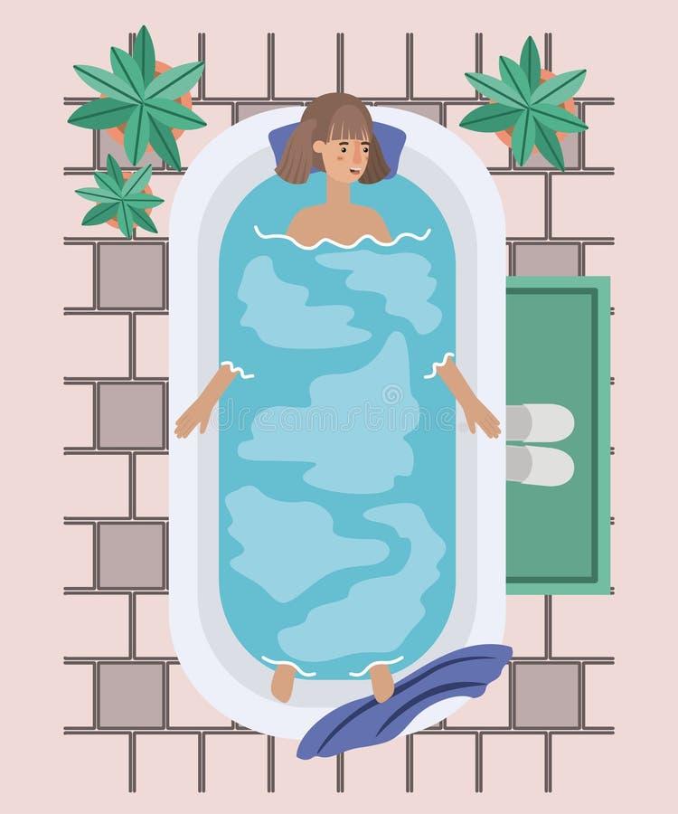 Kvinnan som tar ett bad, badar vektor illustrationer