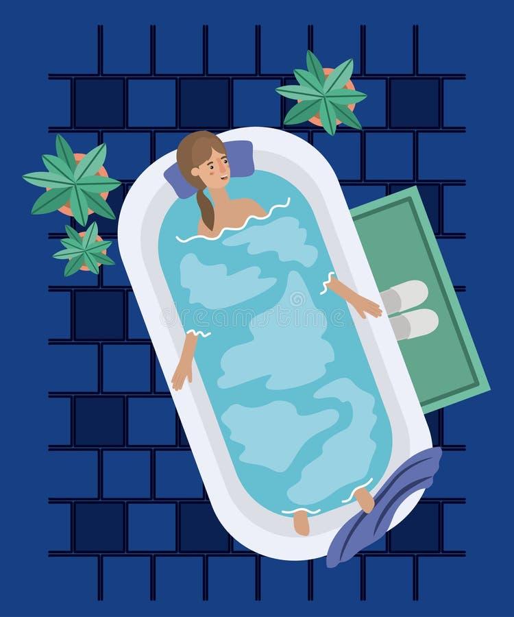 Kvinnan som tar ett bad, badar stock illustrationer