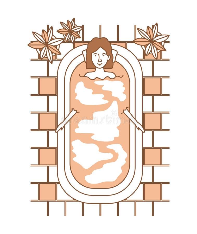 Kvinnan som tar ett bad, badar med houseplants royaltyfri illustrationer
