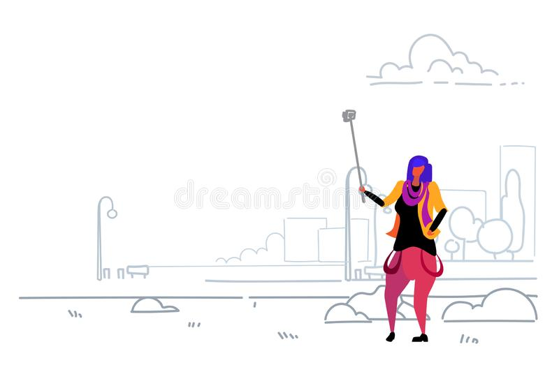 Kvinnan som tar selfiefotoet på den stads- moderna staden för den smarta telefonkameran, parkerar den självhäftande tillfälliga f royaltyfri illustrationer