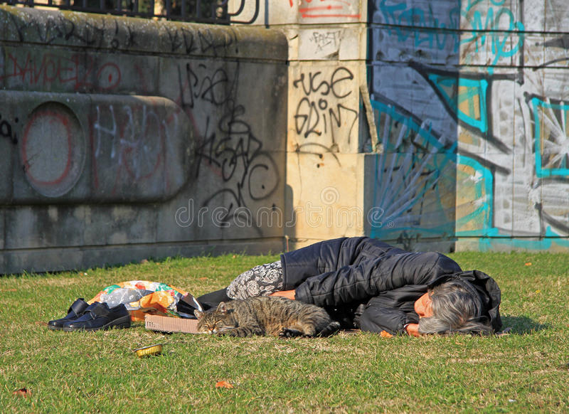 Kvinnan sover offentligt parkerar, Bratislava arkivbilder