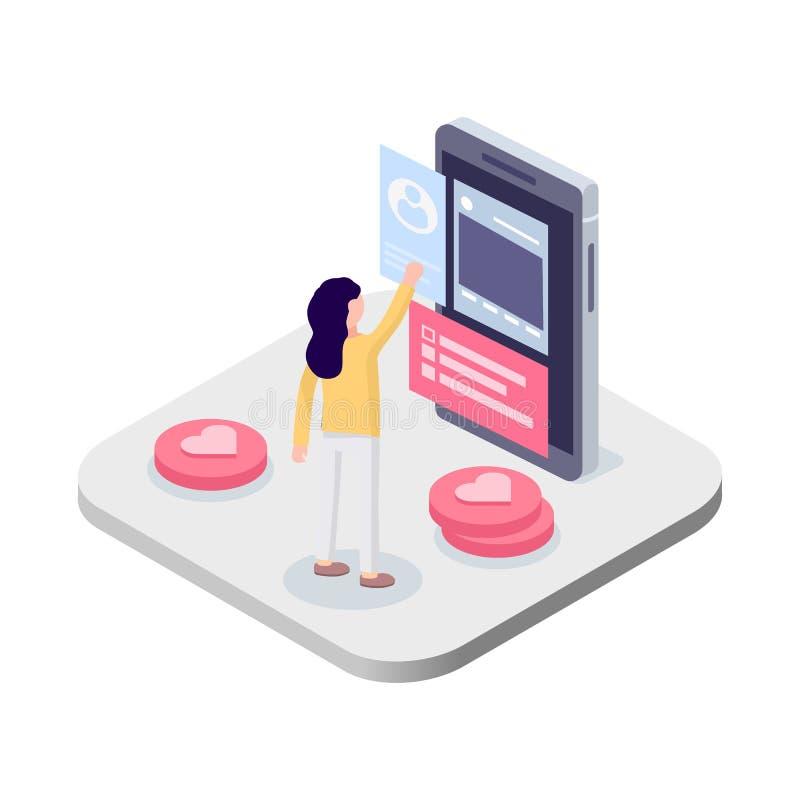Kvinnan står framme av en smartphone begreppet frambragte digitalt högt samkväm för bildnätverksres stock illustrationer
