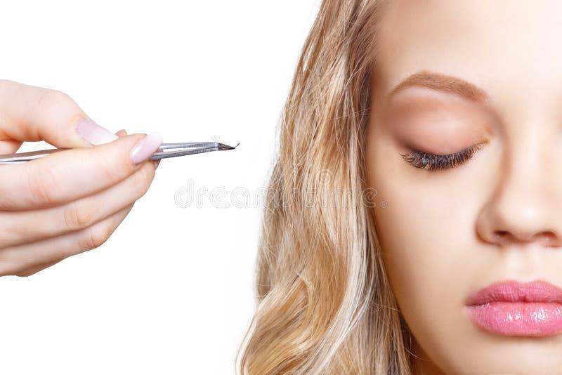 Kvinnan synar med långa ögonfranser Ögonfransförlängning Snärtar slut upp, utvald fokus fotografering för bildbyråer