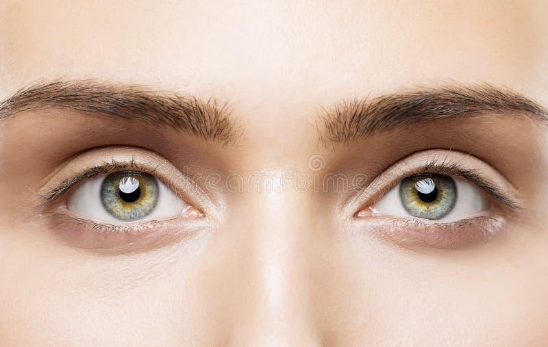 Kvinnan synar tätt upp, naturlig makeup, ung flickaskönhetframsidan, öga royaltyfri fotografi