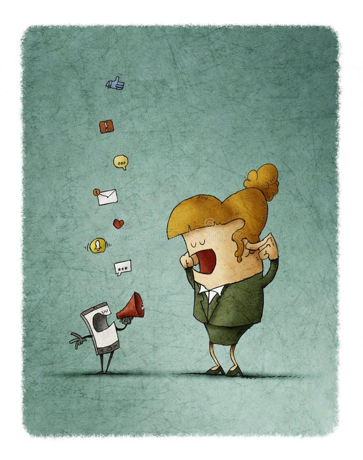kvinnan täcker hans öron, medan hans mobiltelefon meddelar honom till och med en megafon royaltyfri illustrationer