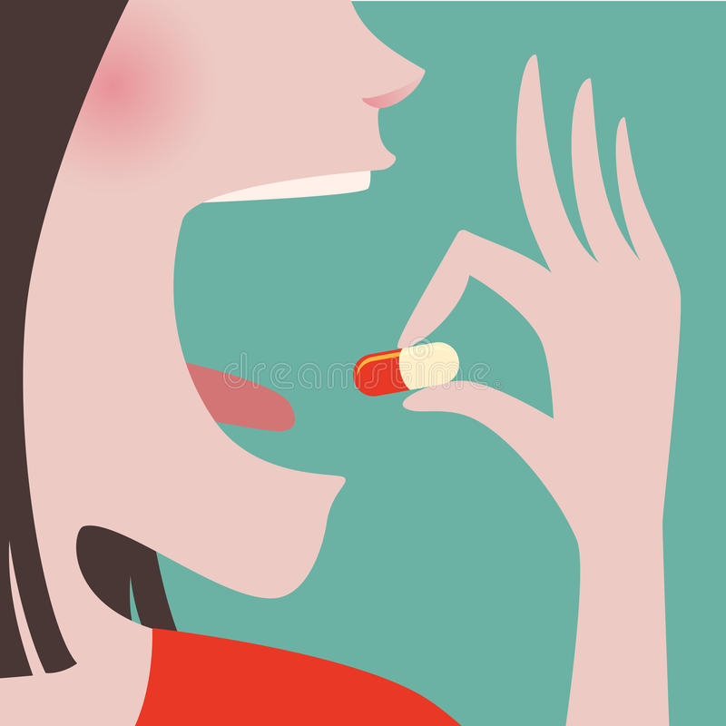 Kvinnan tar en preventivpiller in till hennes mun royaltyfri illustrationer