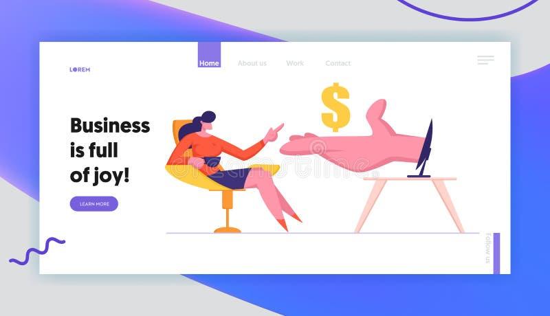 Kvinnan tjänar pengar i sidan för internetWebsitelandning, handen som ger den guld- dollaren till affärskvinnan Sitting på datore vektor illustrationer