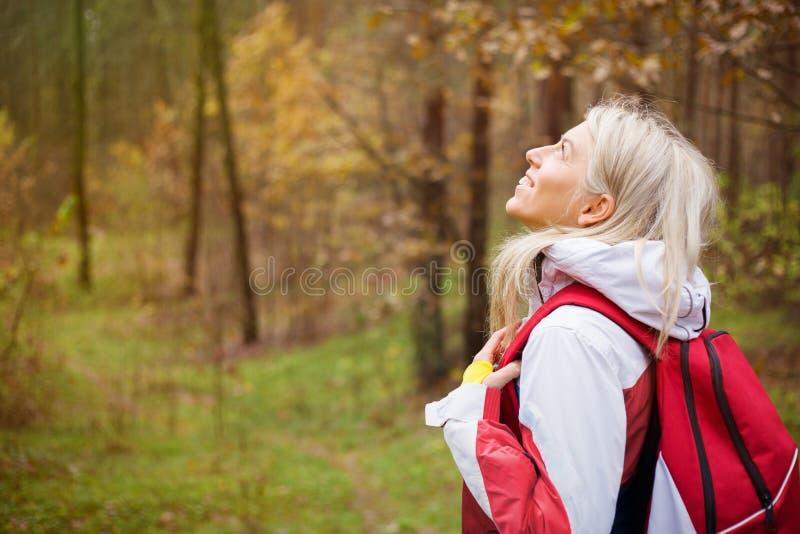 Kvinnan tycker om att fotvandra i trä royaltyfria bilder
