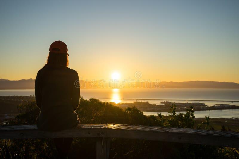 Kvinnan tycker om sikten från mitt av Nya Zeeland går arkivbild