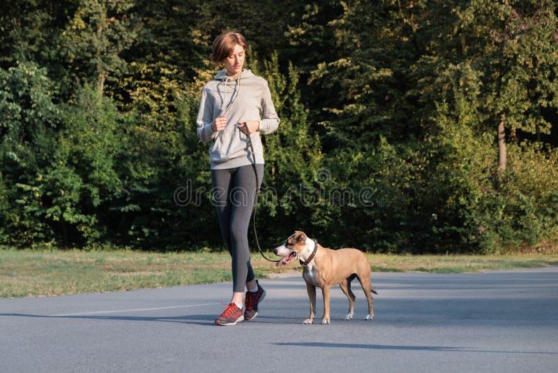 Kvinnan utbildar hennes hund för att köra längs under att jogga Ung passform fema arkivfoton