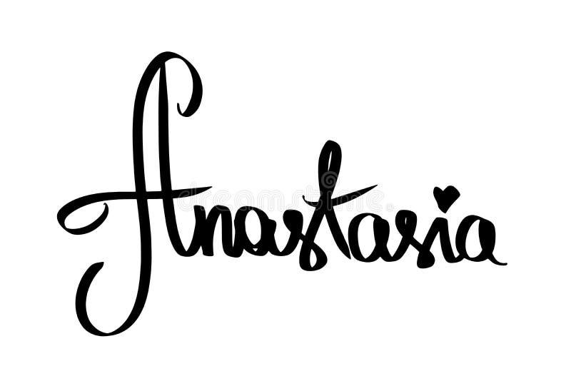Kvinnanamn Anastasia med svart hjärta Handskriven kvinnlig förnamnbokstäver Modern stil för skriftlig kalligrafitext flicka royaltyfri illustrationer