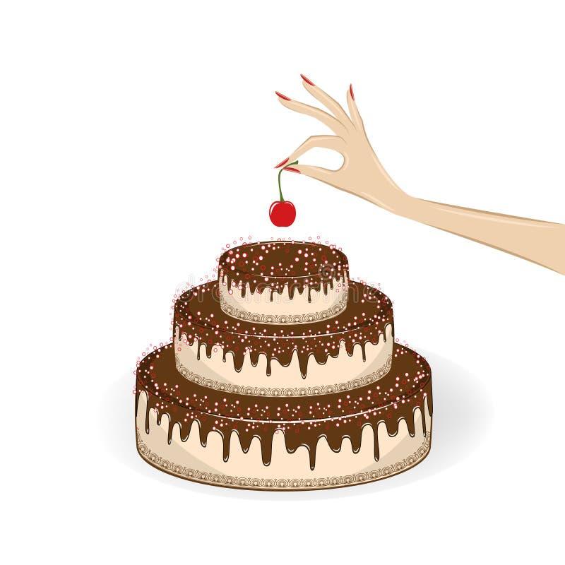 Kvinnans hand sätter en körsbär överst av kakan, isolerat på den vita bakgrunden, den fyrkantiga vektorillustrationen stock illustrationer