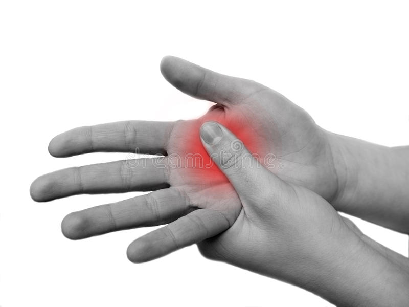 Kvinnans hand smärtar in och att lida, arkivfoton