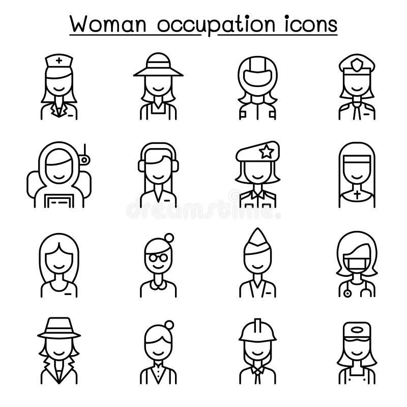 Kvinnaockupation, karriärsymbolsuppsättning i den tunna linjen stil stock illustrationer