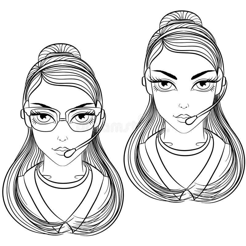 Kvinnaoperatörslinje konst royaltyfri illustrationer