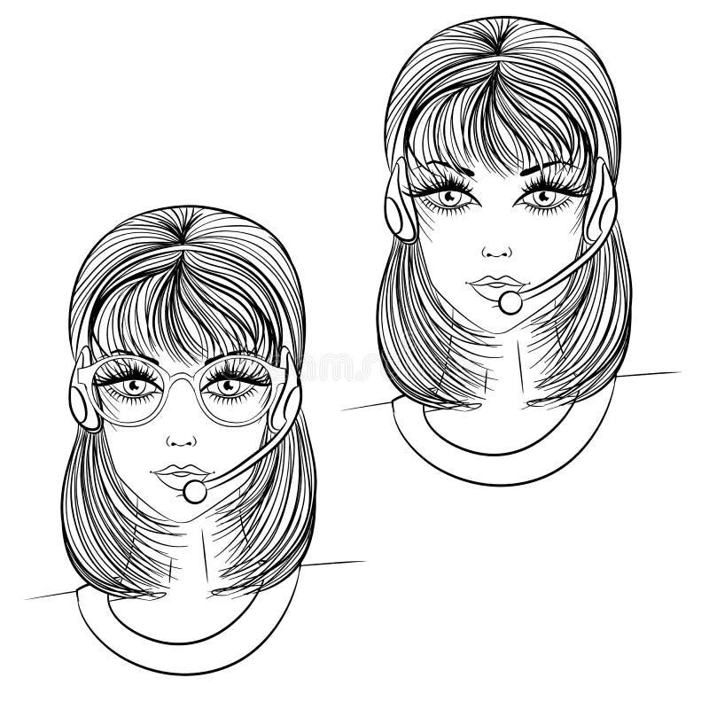 Kvinnaoperatörslinje konst vektor illustrationer