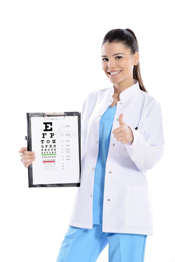 Kvinnaoptiker eller optometriker royaltyfri bild