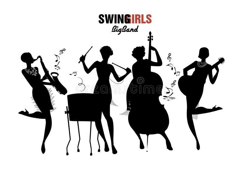 Kvinnaorkester Flicka som fyra spelar jazz, gunga eller charleston royaltyfri illustrationer
