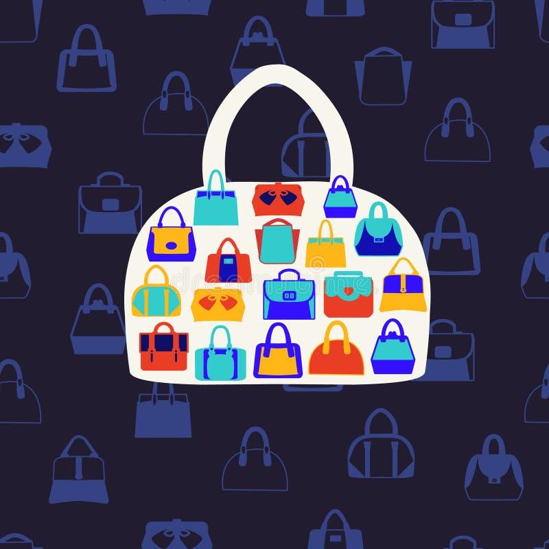 Kvinnapåsar och handväskor Modemodell på mörker - blå backgrou royaltyfri illustrationer