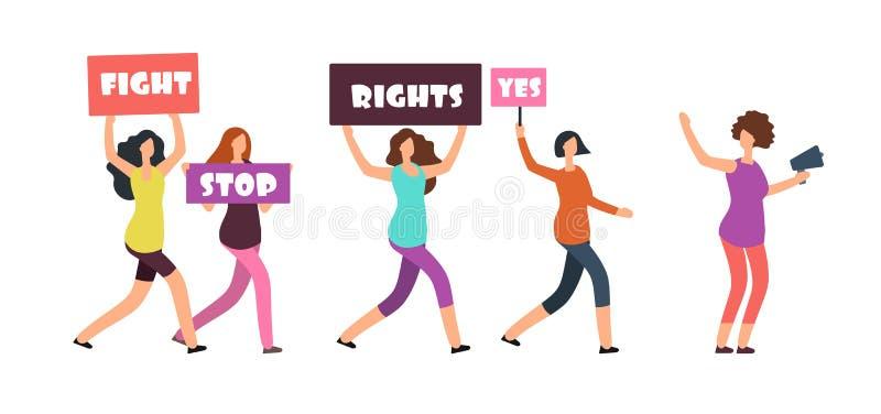 Kvinnapersoner som protesterar som går på manifestation Feminism, kvinnors rätter och protestvektorbegrepp stock illustrationer