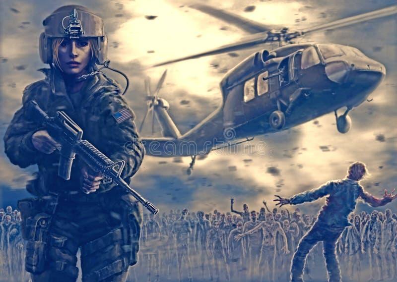 Kvinnapilot med ett anfallgevär Helikoptern på bakgrunden royaltyfri illustrationer